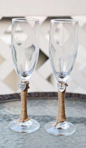 Mug Gelas Custom Shabbychic 2 personalized wedding glass flutes charm custom shabby chic rustic country reception set
