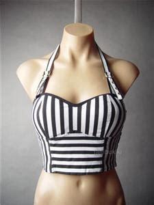Black White Halter S M L Top 43741 black white stripe corset suspender halter bustier crop 29 mv top s m l ebay