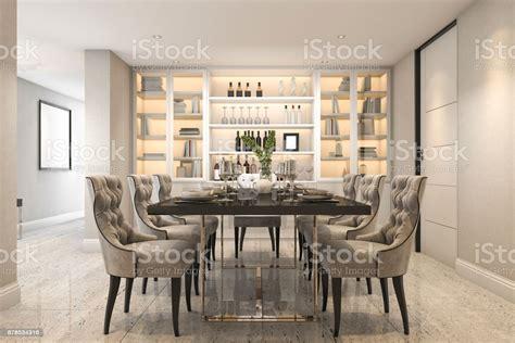 rendering dining set  modern luxury dining room