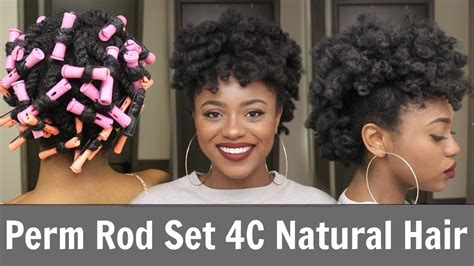 how to do a perm rod set on relaxed hair perm rod set frohawk 4c natural hair youtube
