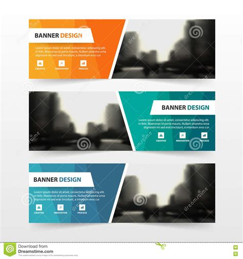 layout banner template orange green blue polygon corporate business banner
