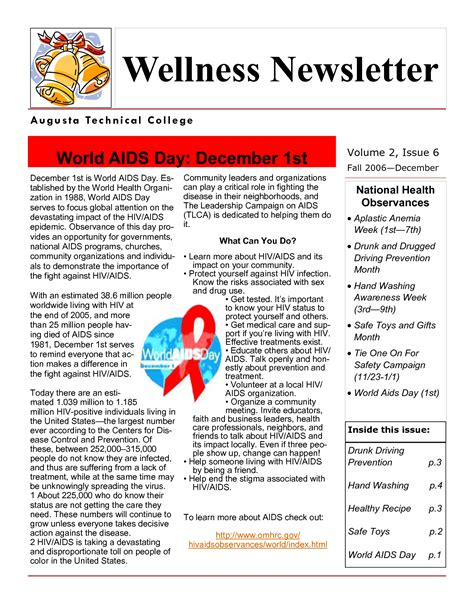 10 best images of health newsletter template free health