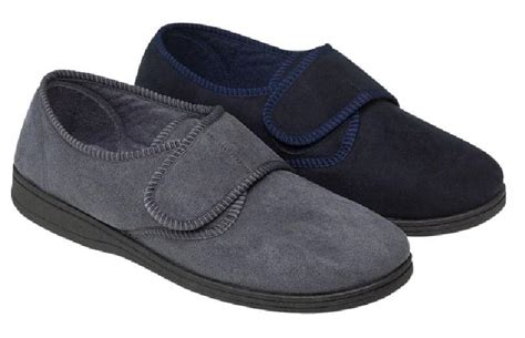 wide fit slippers mens mens slippers navy grey velour velcro soft heel wide fit