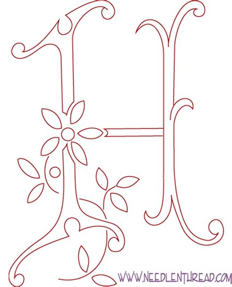 embroidery templates letters monogram for embroidery letter h needlenthread