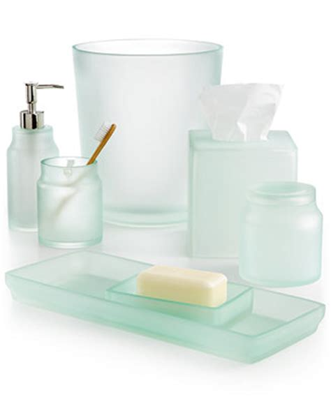 Martha Stewart Collection Sea Glass Frost Bath Accessories Frosted Glass Bathroom Accessories