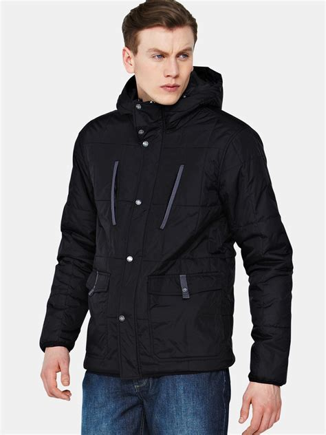 bench bench mens quilted hooded jacket in black for men lyst