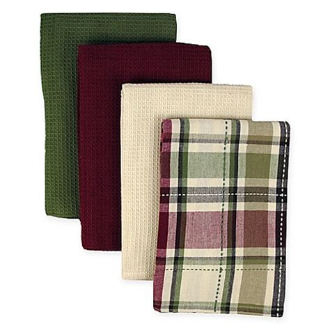 homespun kitchen towels 4 pack in plaid bed bath beyond