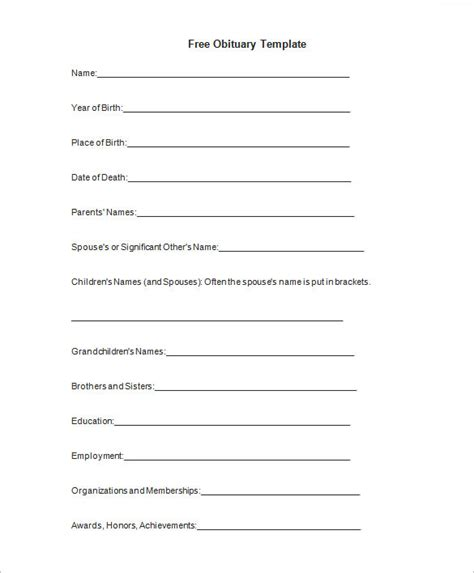 Obituary Template Word Document