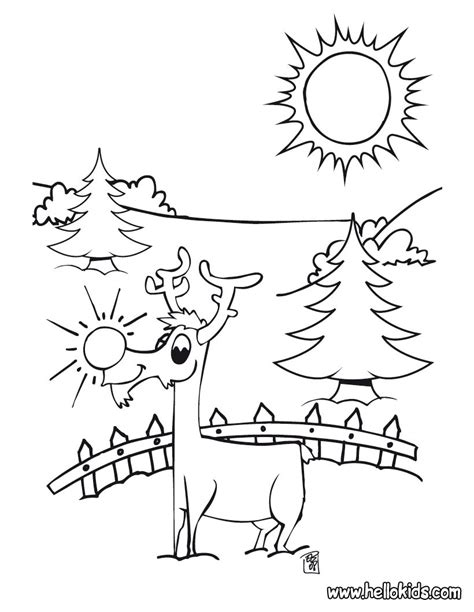 red nosed reindeer coloring pages hellokids com
