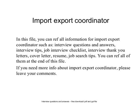 Import Export Cover Letter by Import Export Coordinator