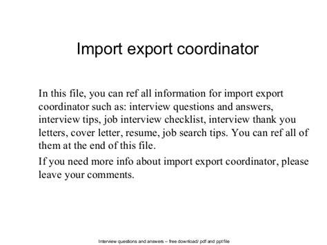 Import Export Coordinator Cover Letter by Import Export Coordinator