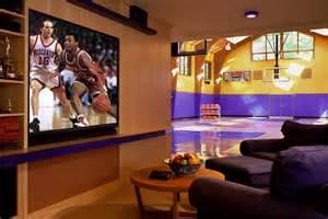 Nba Wall Murals indoor basketball court tv area dream home pinterest