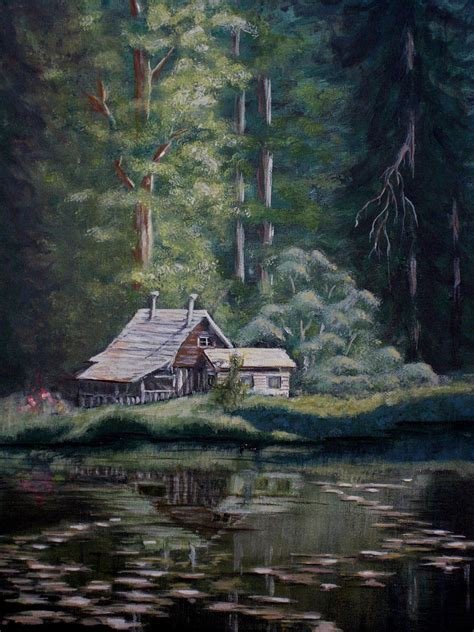 Big Cabins On The Lake by Cabin On The Lake Painting By Birgit Coath Afca