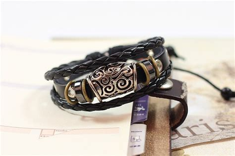 Handmade Bracelets Australia - handmade pu leather bracelet black tribal bohemian