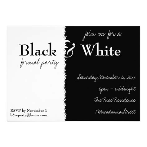 Black And White Birthday Invitation Card Template by Black And White Theme Invitation 13 Cm X 18 Cm