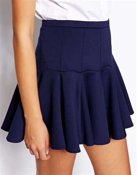 asos mini skirt in scuba with flippy hem in blue lyst