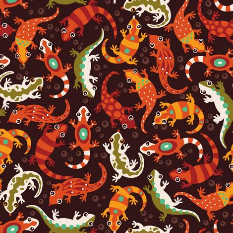 lizard loving lush (brown/orange) fabric verycherry