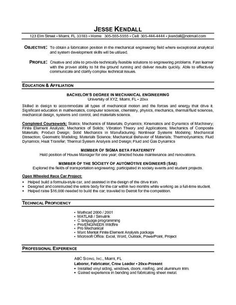 resume format of engineering student resume exles for college students sle resumes