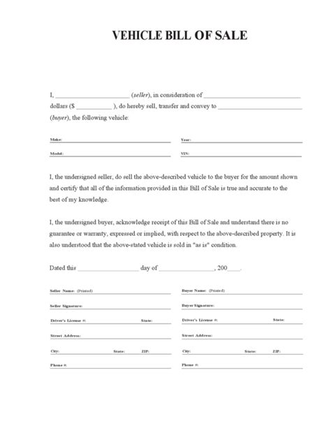 bill of sale for vehicle sle car bill of sale pdf template business