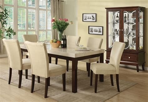 kyle casual white marble top dining table set 7pc