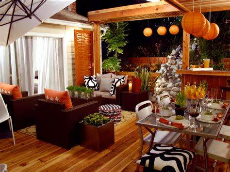 outdoor living spaces ideas for outdoor rooms hgtv orange home decor and decorating with orange color