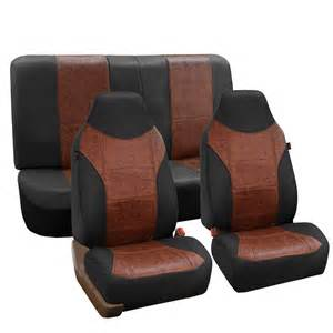 Seat Cover Brown Pu Leather Complete Set Front Back Seat Cover Black Brown
