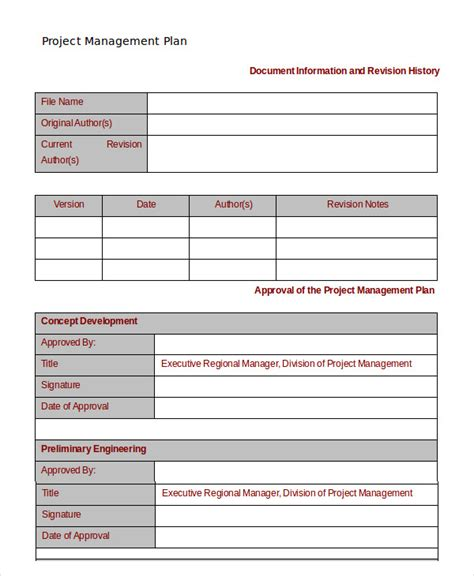 template for project management project management template 10 free word pdf documents