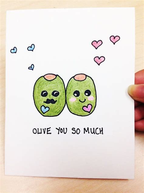 How Much Do I Have On My Gift Card - funny valentine card olive you so much hand drawn just