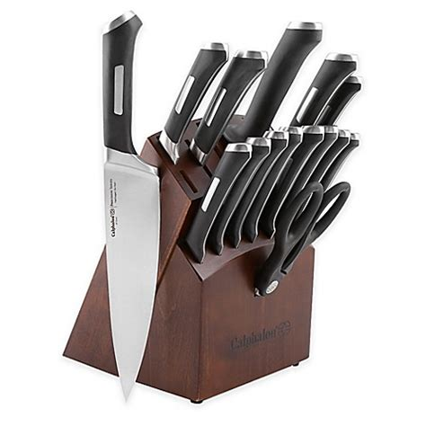 calphalon kitchen knives calphalon 174 precision series 16 cutlery knife block set bed bath beyond