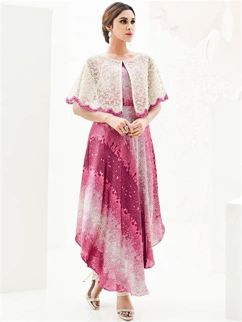 jacket pattern kurti images sasya onion pink beige kurti with jacket arihant 8068