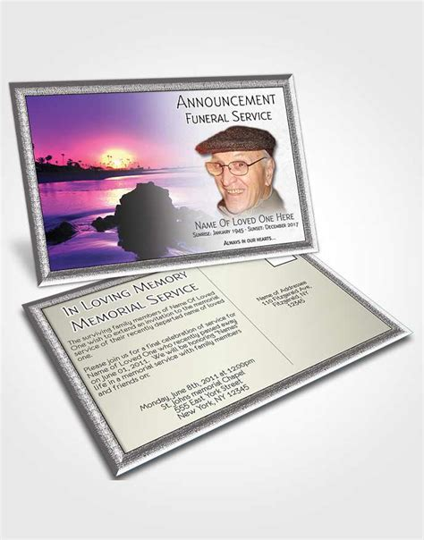 memorial card template sunset beautiful customizable sympathy announcement card