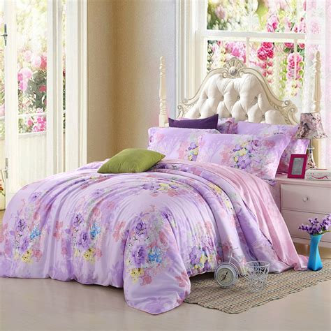 Purple Bed Sets King Size Light Purple Lilac Bedding Set Floral King Size Quilt Doona Duvet Cover Sheets Bed In A