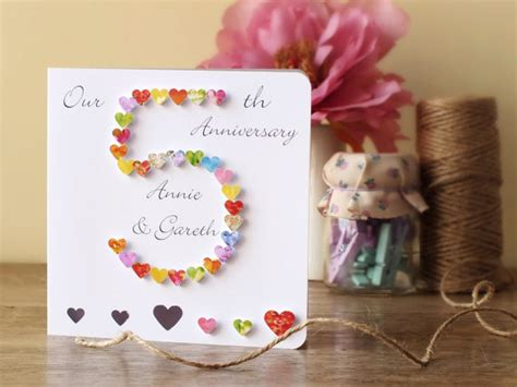 Handmade Anniversary Gifts - 5th wedding anniversary card personalised 5th anniversary