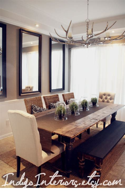 Farmhouse Style Dining Room Table | black and espresso farmhouse reclaimed wood plank style