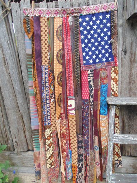 boho american flag ethnic beaded curtain handmade