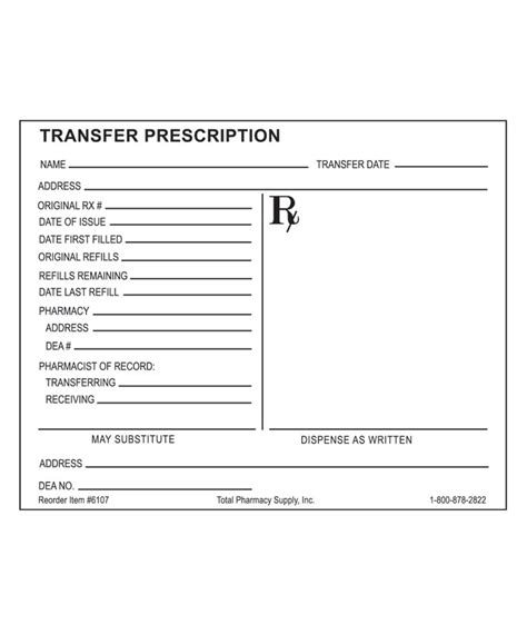 prescription blank transfer rx horizontal layout