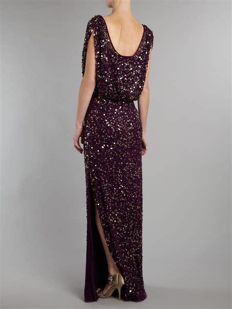 beaded maxi dress untold beaded maxi dress in black aubergine lyst