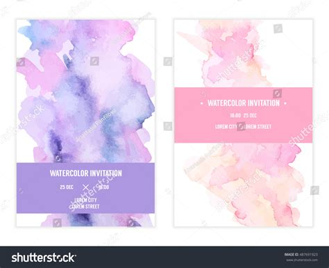 Pastel Color Card Templates by Vector Watercolor Background Simple Card Stock