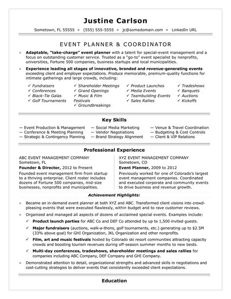 event planner resume template event planner resume sle resume ideas