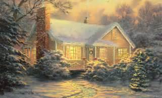 kinkade pattern cottage painting
