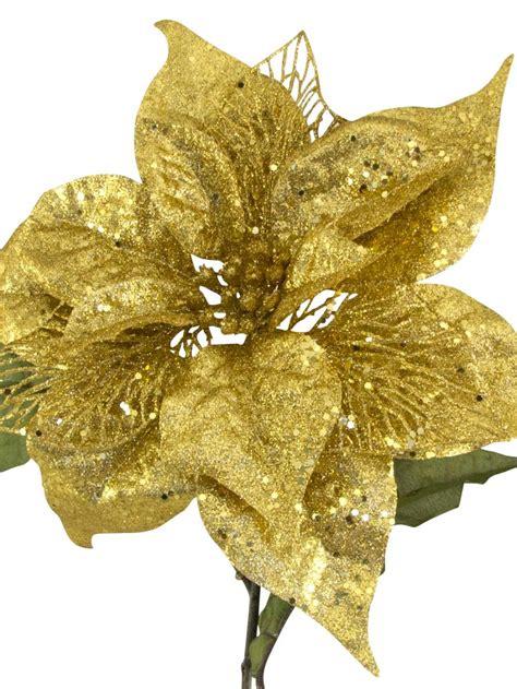 hessian gold poinsettia picks gold sequin glitter poinsettia decorative 26cm decorations the