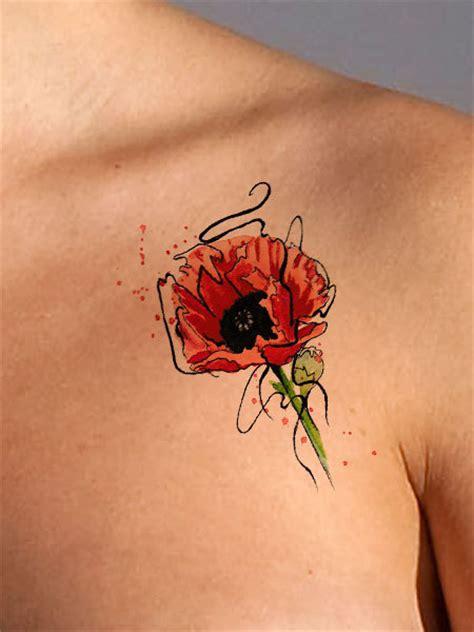 flower tattoo representation temporary tattoo poppy flower tattoo floral tattoo watercolor