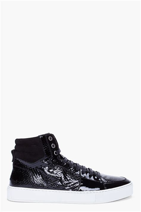laurent sneakers mens laurent black scale embossed patent sneakers in