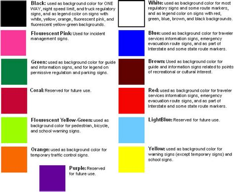 sign colors road signs and markings drivers education in california