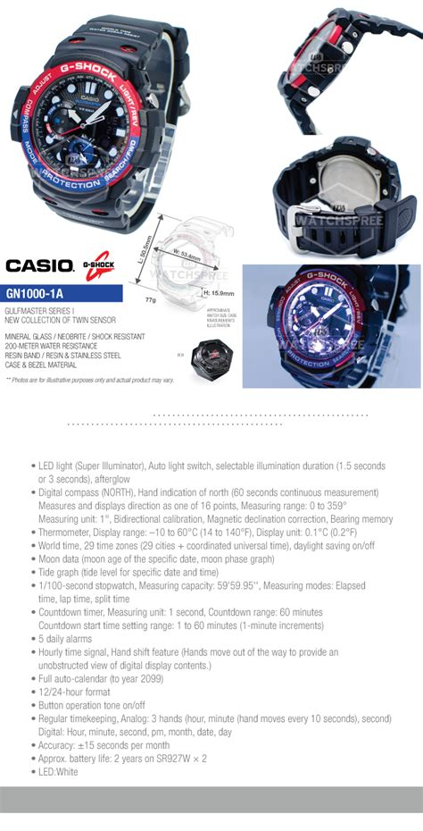 Casio G Shock Gulfmaster Gn 1000 1a Original Garansi Casio 1tahun casio g shock master of g gulfmaster series gn1000