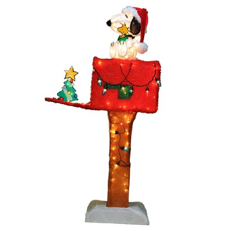 48in animated holographic mailbox peanuts by schulz 48 quot light up animated snoopy mailbox decoration