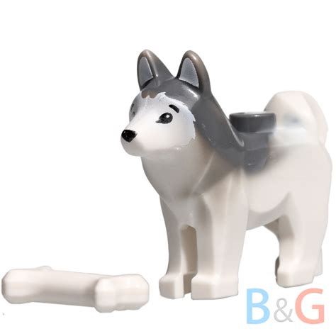 lego dogs lego minifig husky sled white gray arctic animal pet w bone 60034 60036 ebay