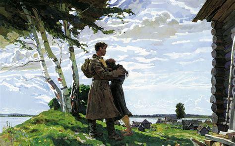 soldiers birch drawing meeting military mood sad love