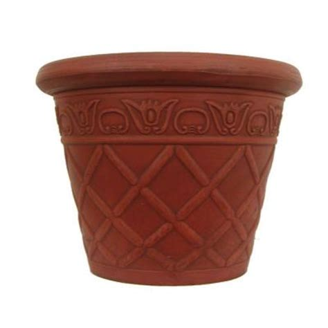 16 in terra cotta lattice plastic planter 2 pack