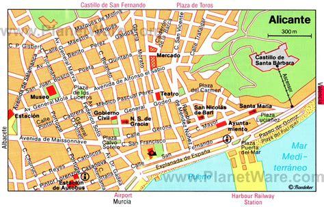 printable street map benidorm alicante spain cruise port of call